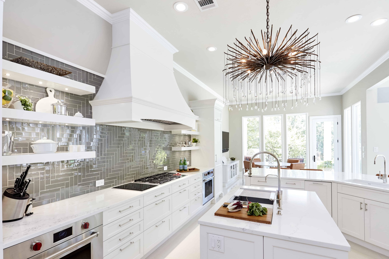 white transitional kitchen with gray backsplash