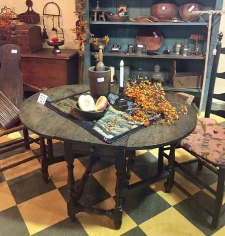 antique table at Roundtop show