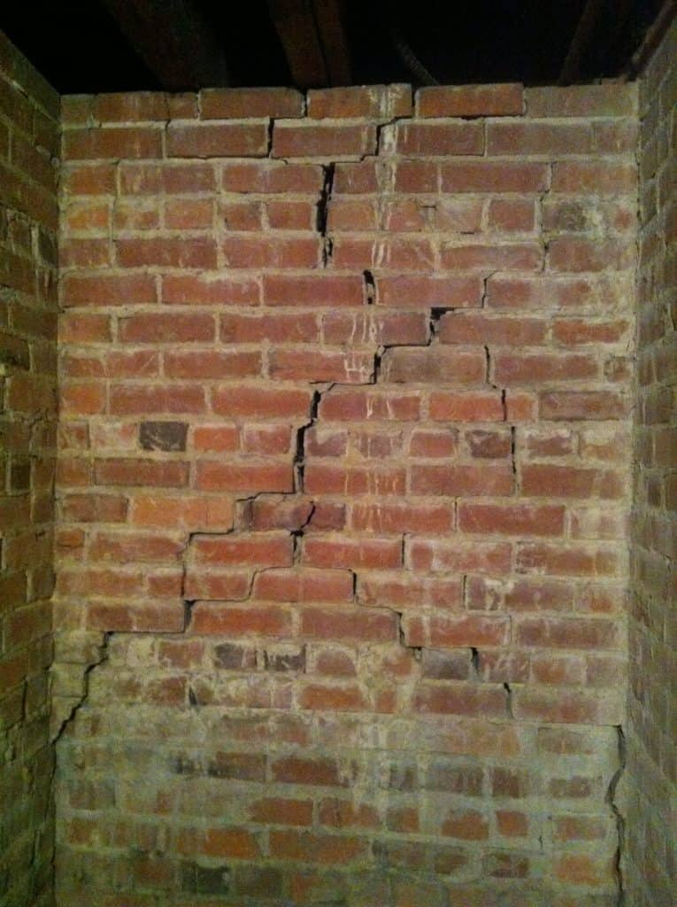 Cracking brick mortar in basement foundation walls