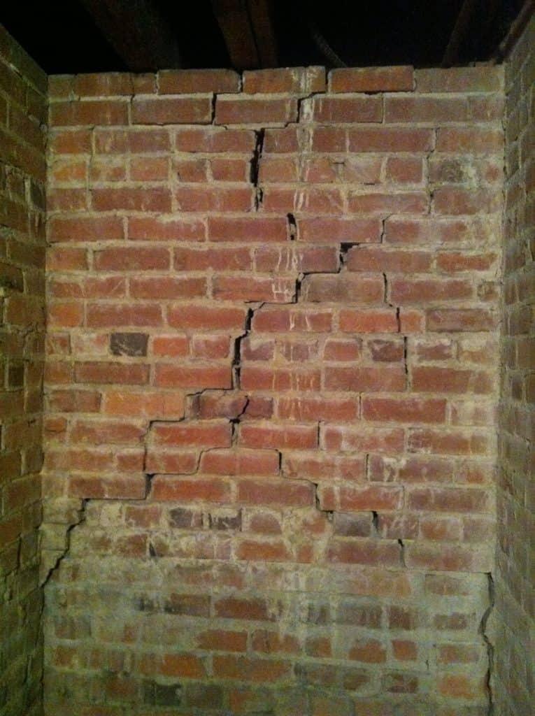 Cracking brick mortar in basement foundation walls