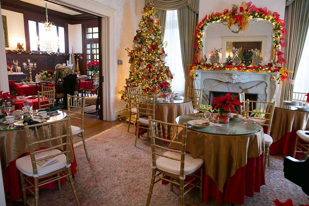 Alexander Mansion Holiday Tea French Room Christmas decor