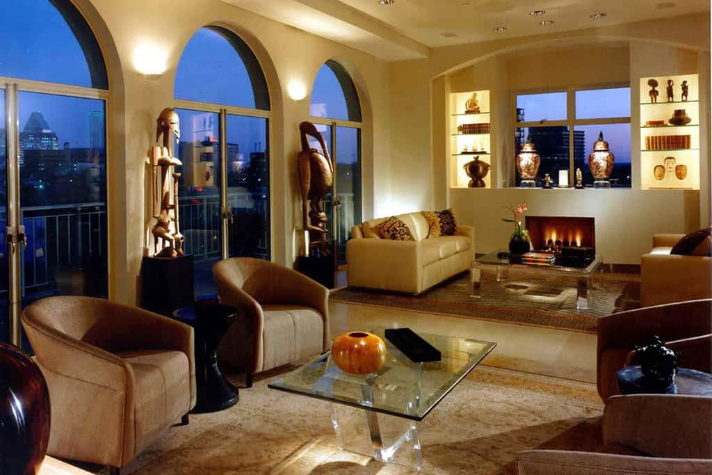 Condo living area fireplace