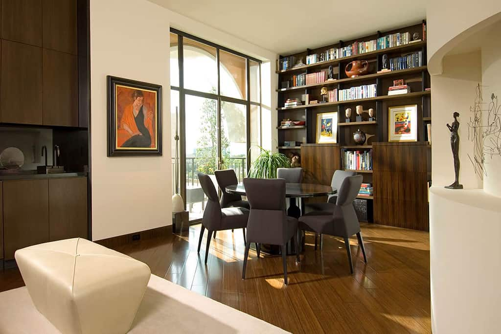 Dining area and bookshelves