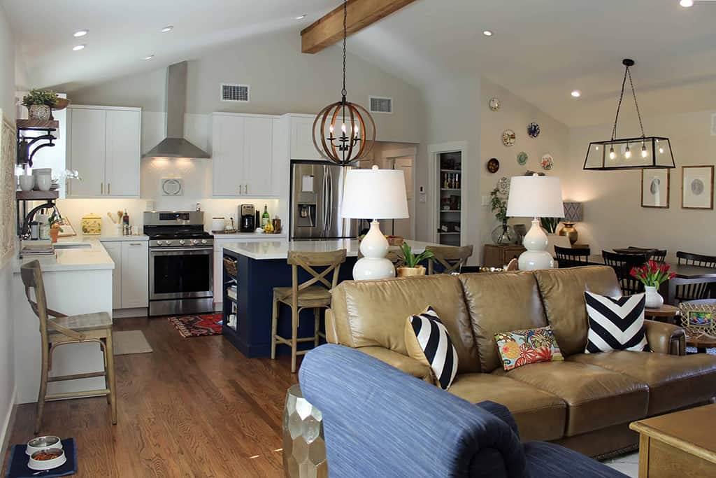 Kitchen Modern Farmhouse Open to Living Room Blue Island