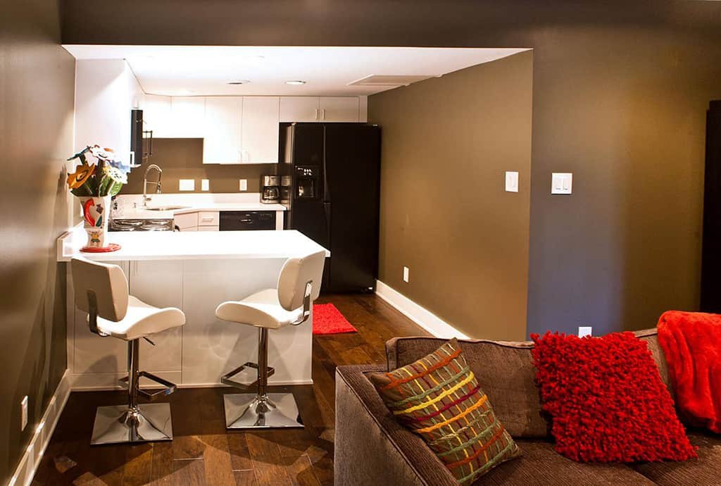 Kitchenette media room remodel