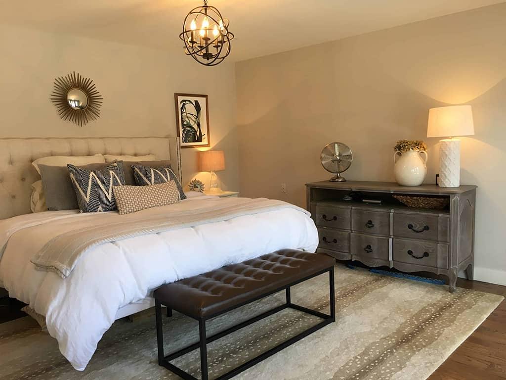 Master Bedroom Modern Farmhouse Bench Dresser Remodel Addition