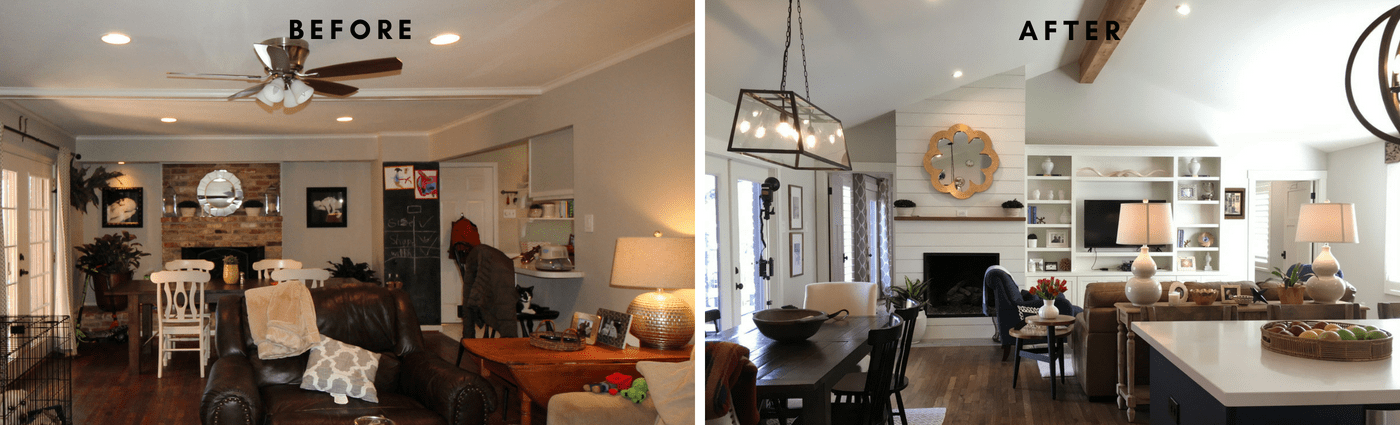 Modern Farmhouse Kitchen Living Room Before & After hpd architecture + interiors