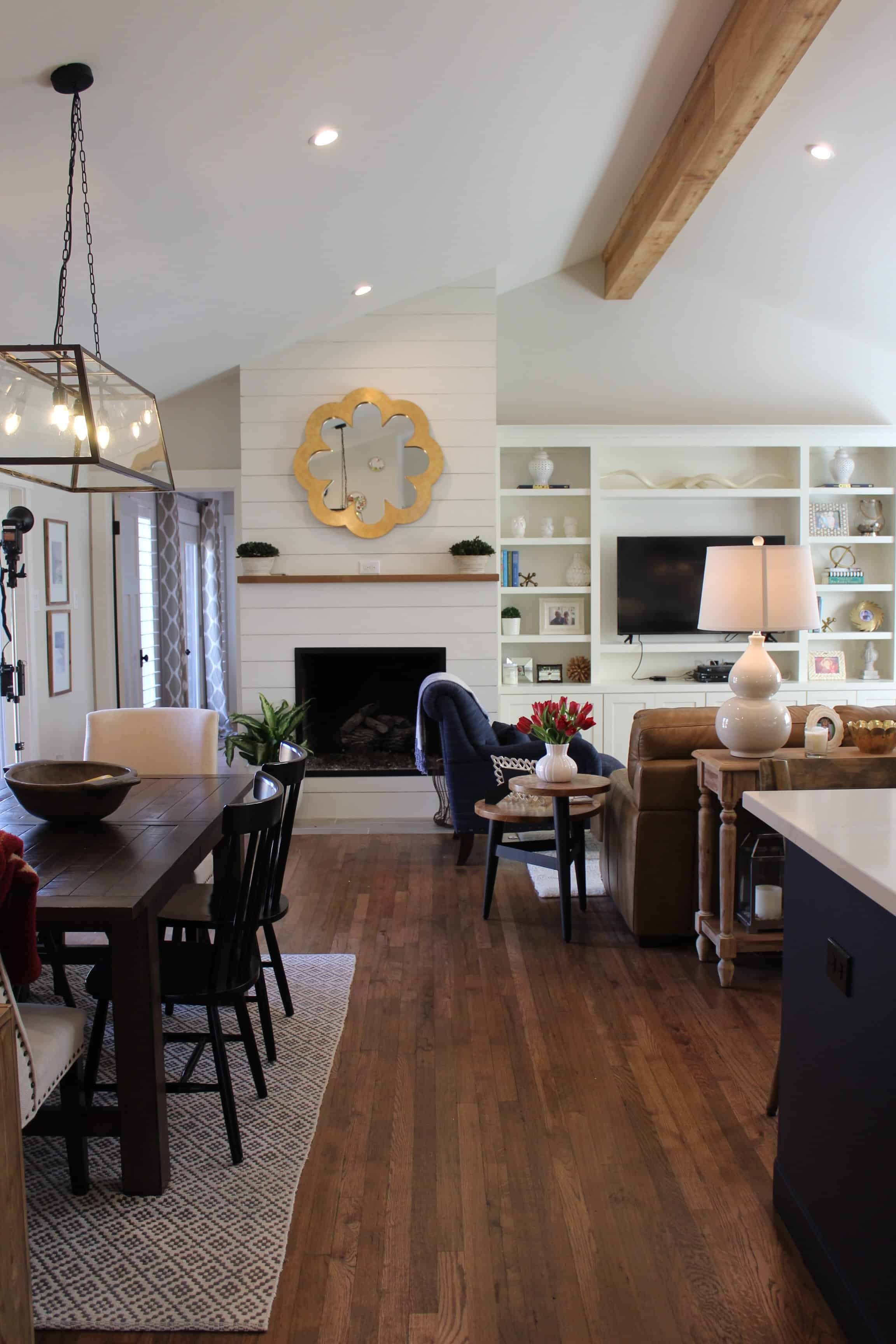 Modern Farmhouse Fireplace Living Room Dining