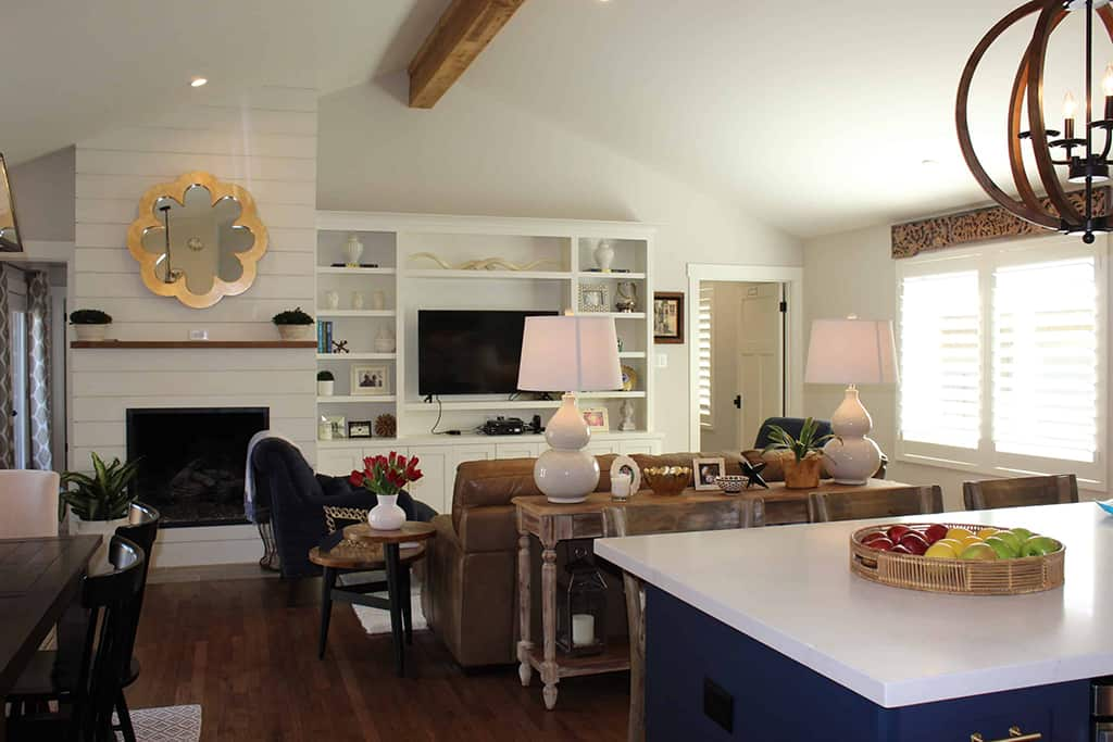 Modern Farmhouse Great Room Open Kitchen Dining Living