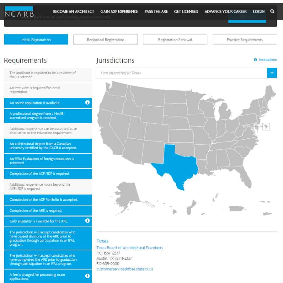 NCARB licensing requirements screenshot
