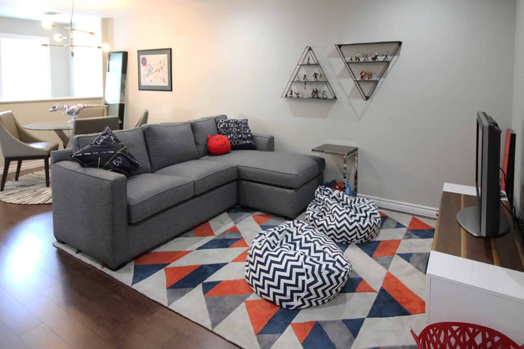 Ranch Contemporary Kids Play Room TV 2nd Floor Addition