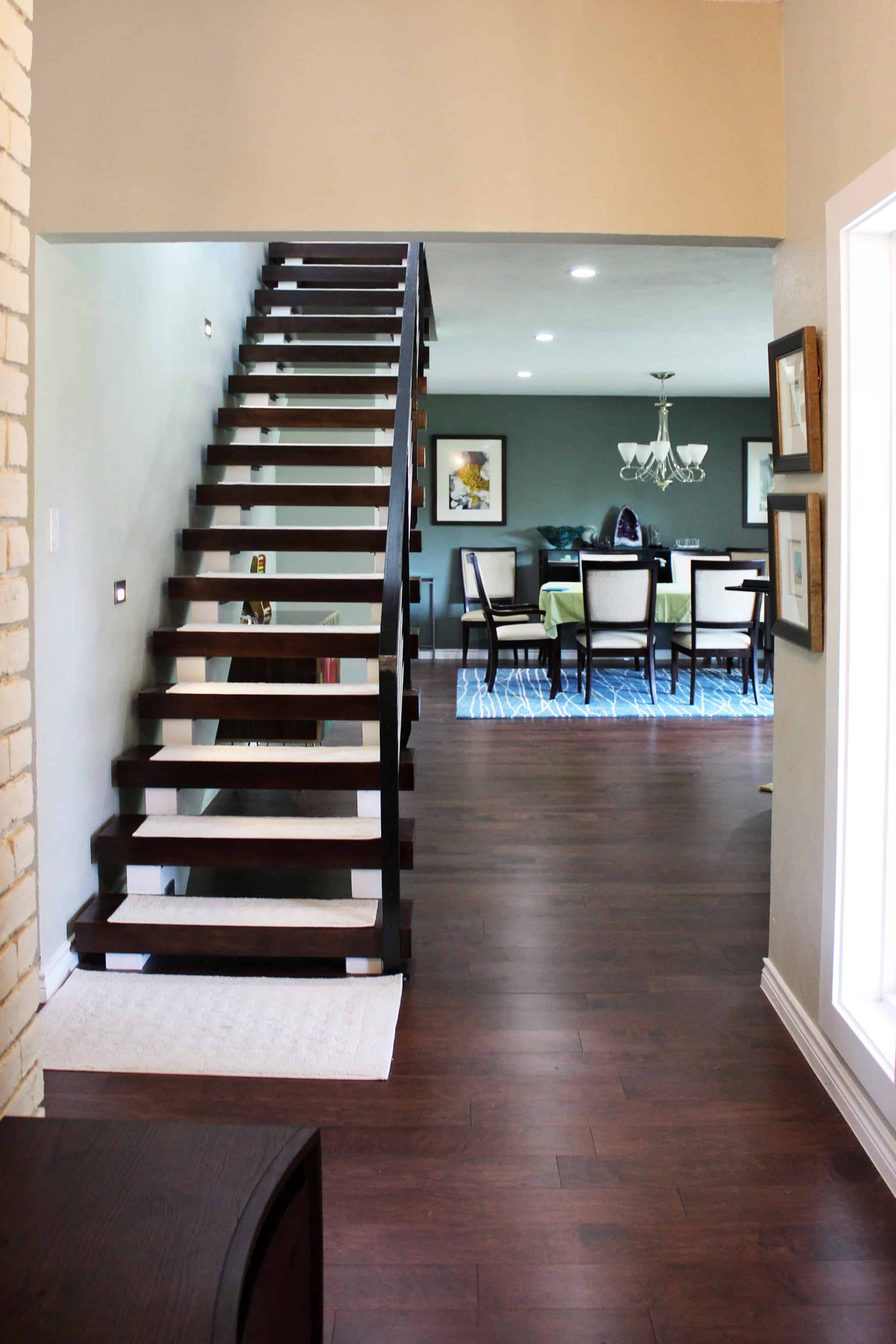 Ranch Contemporary New Stair from Entry 2nd Floor Addition