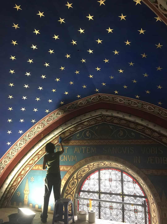 Restorer at work, Adopt a Saint Germain Star ceiling
