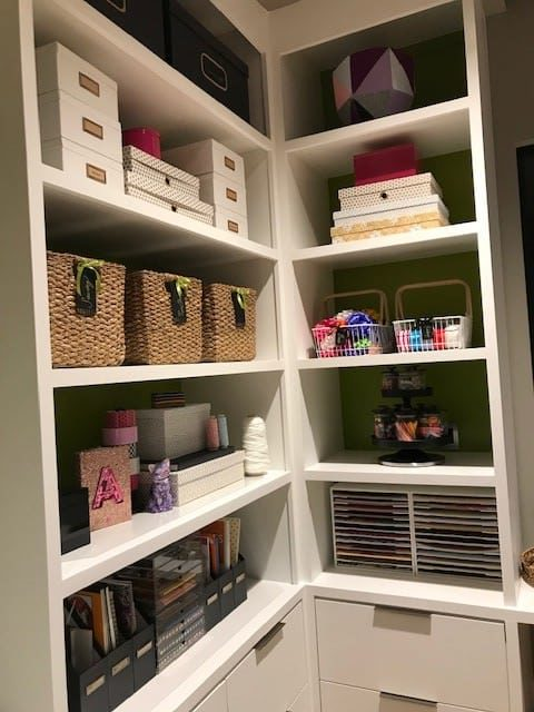 craft room shelves organized by Totally Organized Dallas, Texas