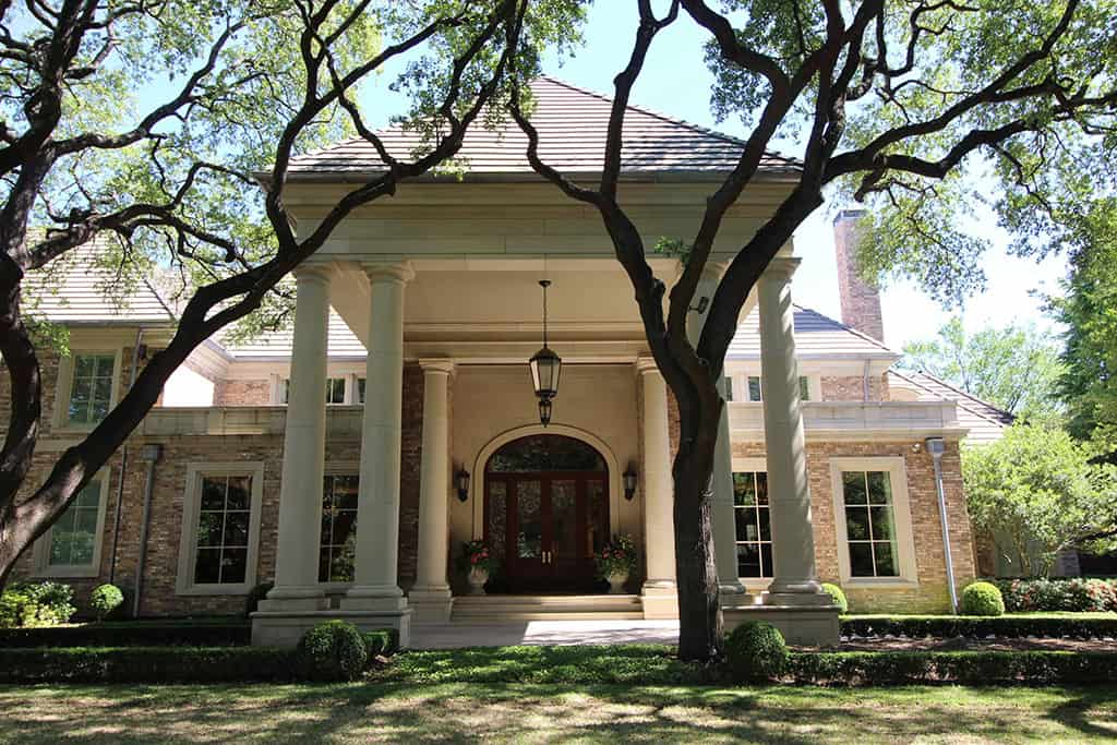 Traditional exterior porte cochere side view