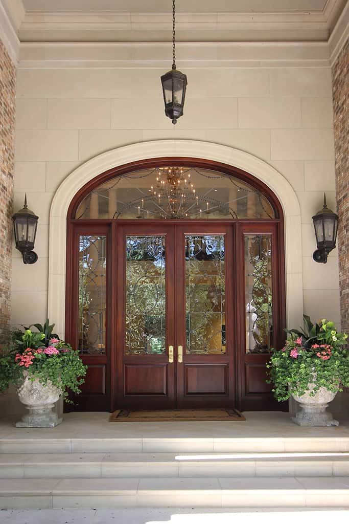 Traditional exterior front view door stained wood stone