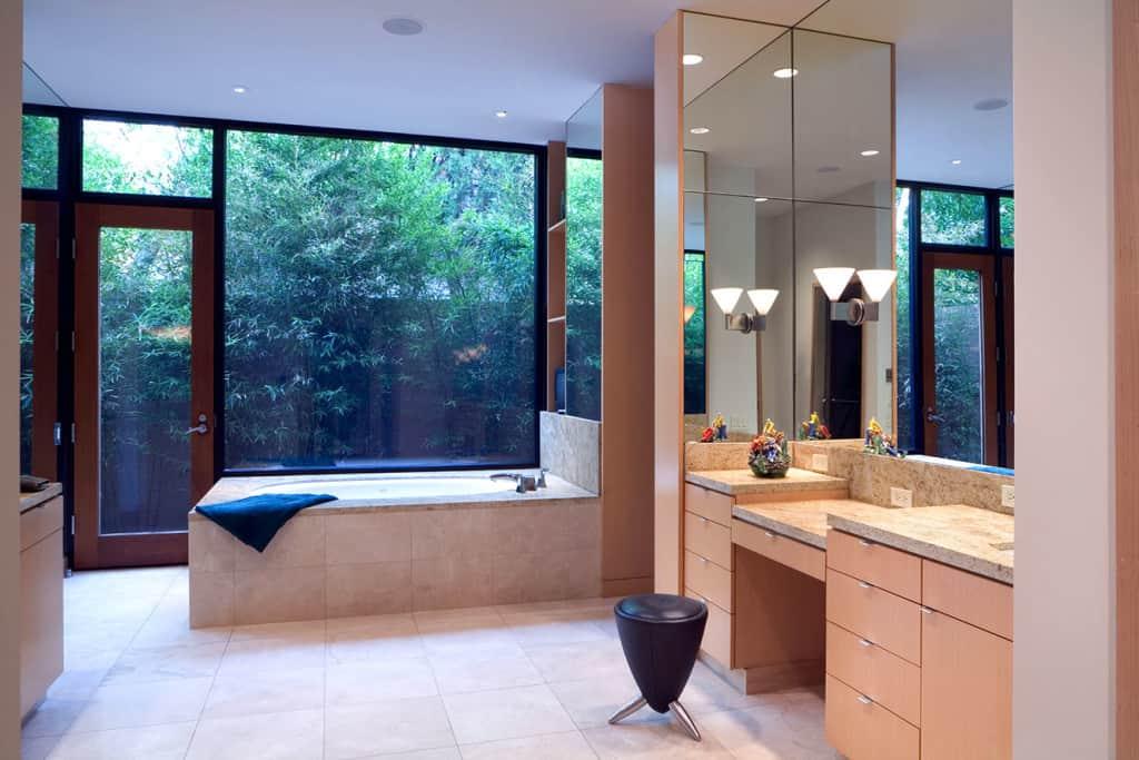 Bathroom remodel large windows