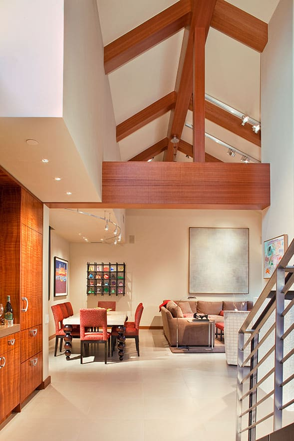 Condo dining area remodel vaulted ceiling