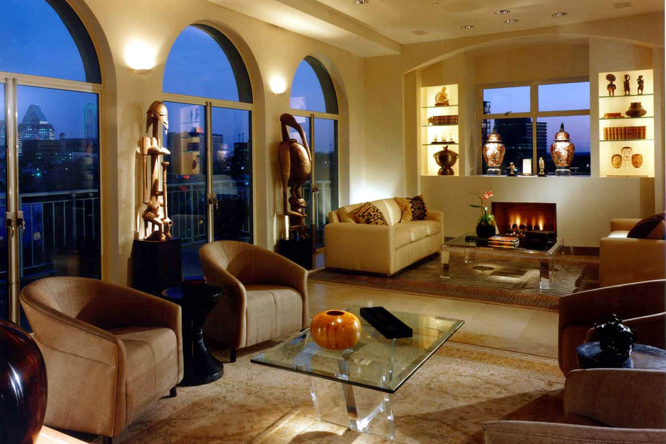 Condo living area fireplace