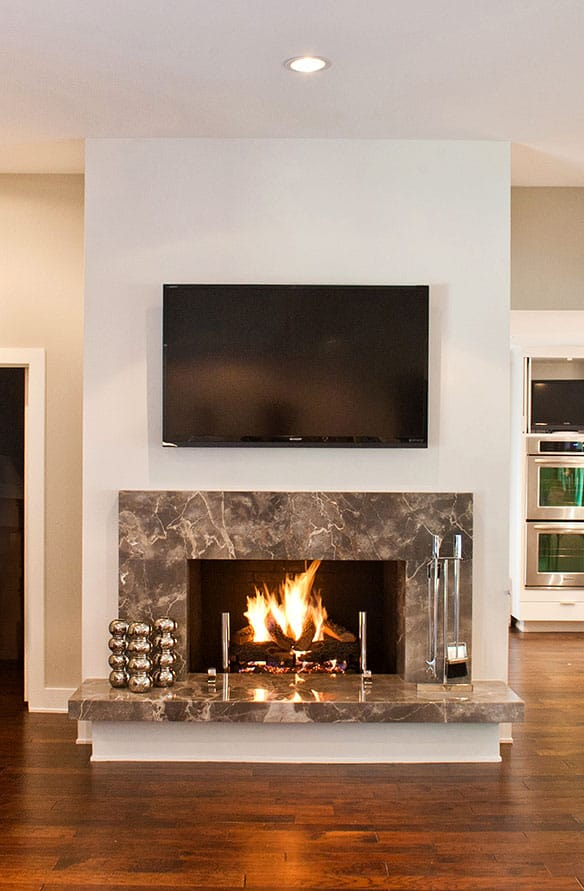 Contemporary living room remodel with fireplace