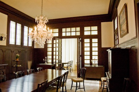 Dining Room at the Alexander Mansion, original mahogany paneling
