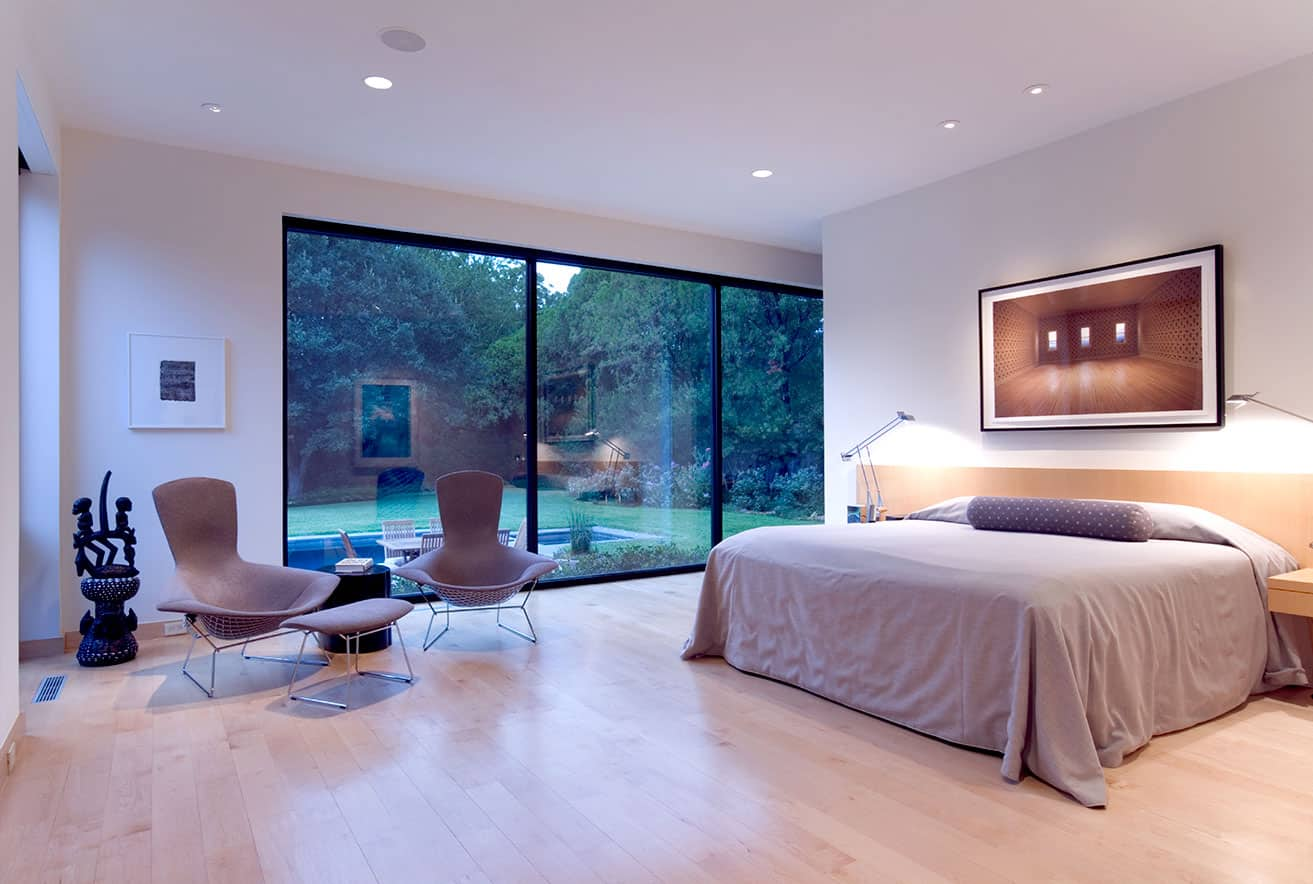Modern bedroom remodel large windows