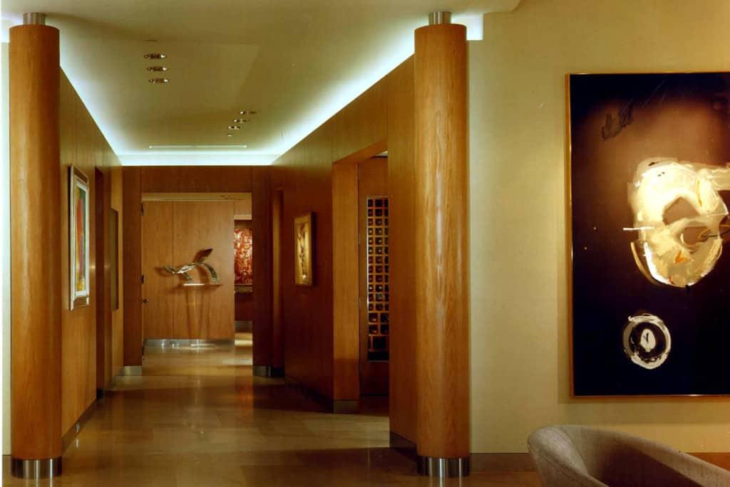 Wood column walls hallway
